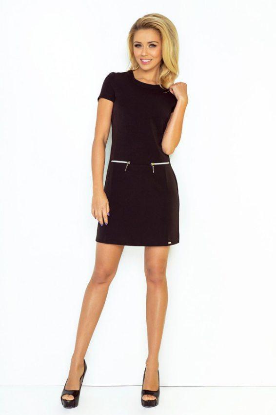 d8ba1b89a743 Výpredaj Mini šaty s krátkym rukávom so zapínaním na zips čierne. 134-1