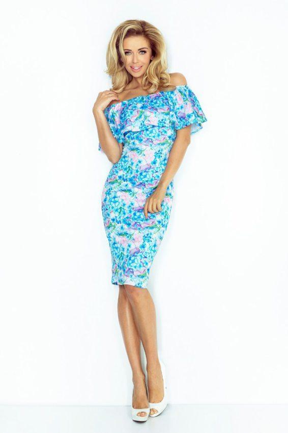 d72aa13a9583 Výpredaj - elegantné šaty hispanka belasé drobné kvety 138-5