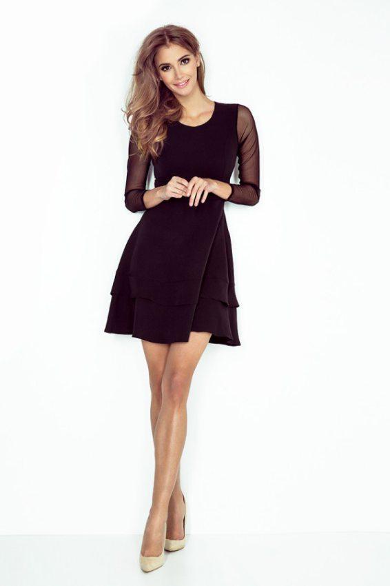 Malé čierne  Šaty s tylovými rukávmi - čierne 141-6 17979fd9a0e