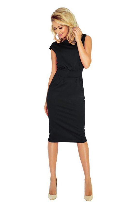 Elegantné biznis šaty s dlhou sukňou čierne 144-3 8e9bc418e1b