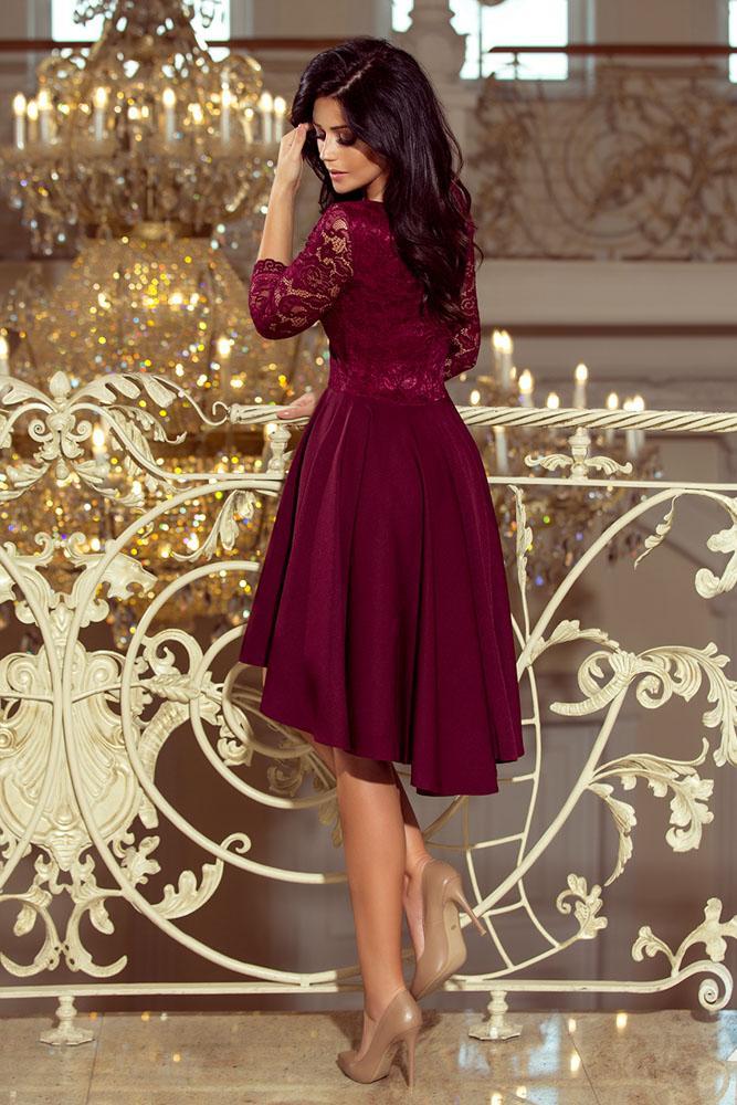 b9039a2e9dbf Exkluzívne šaty s čipkou Nicolle- bordové 210-1