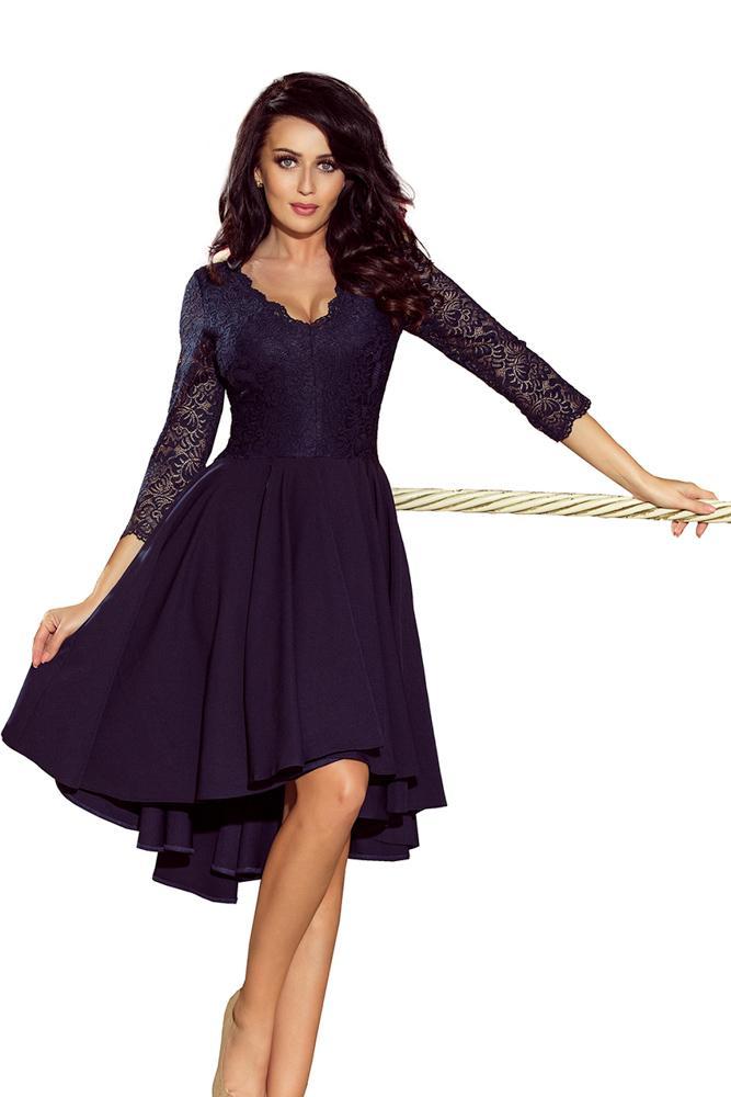 Exkluzívne šaty s čipkou Nicolle- tmavo modré 210-2 34b34d73ede