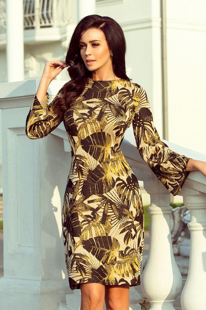 b1cbf19b7df8 teplé šaty s jesenným vzorom veľké listy