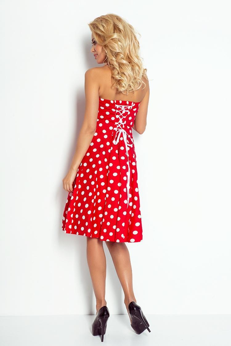 dámske elegantné červené korzetové retro šaty s bodkami numoco 4a2aa48ad9