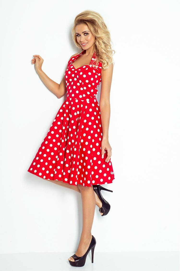 Elegantné korzetové šaty ROCKABILLY - červené 621a346abf