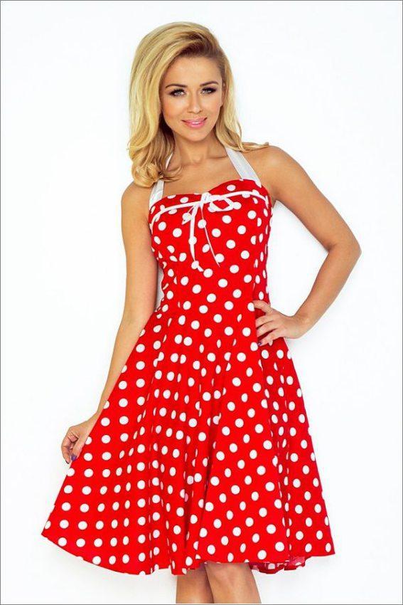 dámske elegantné červené rockabilly pi up šaty s bodkami numoco 89f8e02320