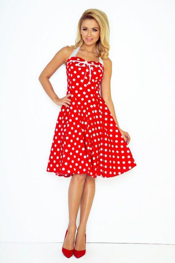 Elegantné šaty ROCKABILLY pin up- červené 24ec2f37df