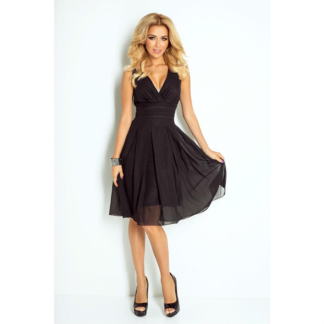 35-6 večerné koktejlové šaty zo šifónu čierne d0a5b620688