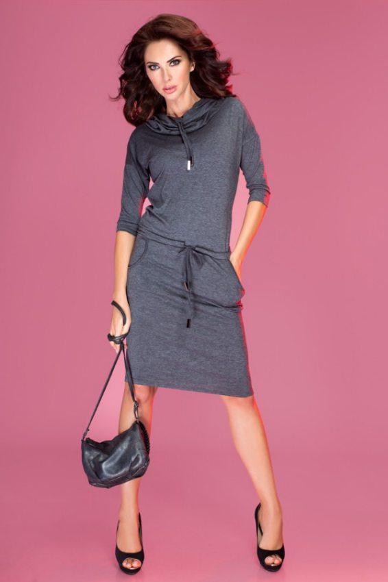 dámske pohodlné šaty s voľným golierom šedé s potlačougrafitové numoco 3202a6bdbc9