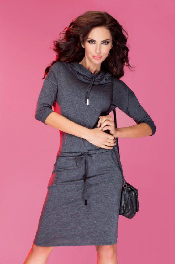 Dámske pohodlné šaty s voľným golierom grafitové 20f61e00bce