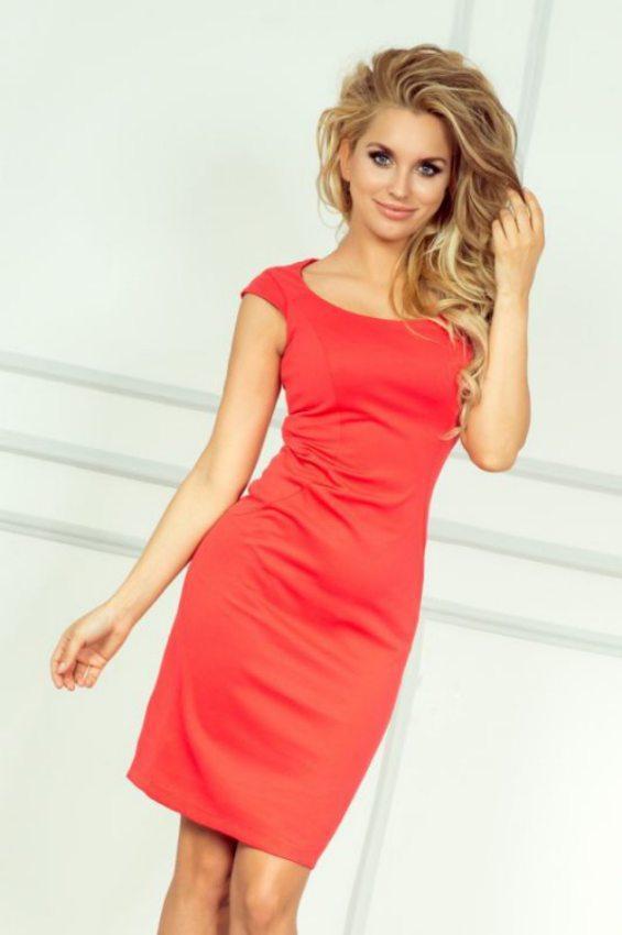 e4a33e3adc9d Elegantné puzdrové šaty tmavo korálové