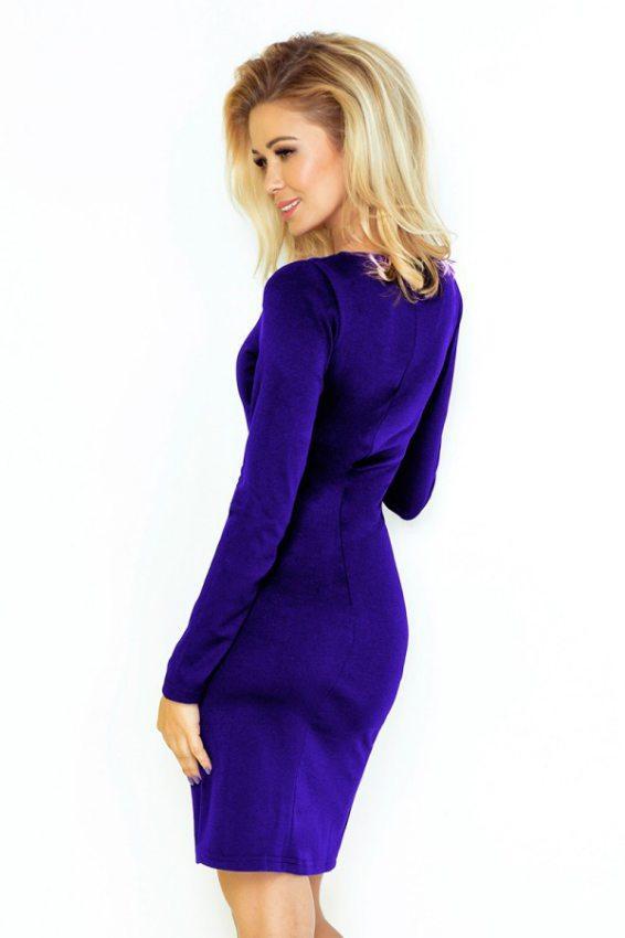 7eeb5dd44fb8 Jednoduché šaty s oválnym dekoltom a dlhým rukávom- fialové