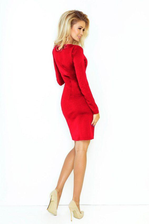 9d617cbadcfb Jednoduché šaty s oválnym dekoltom a dlhým rukávom- červené 92-3