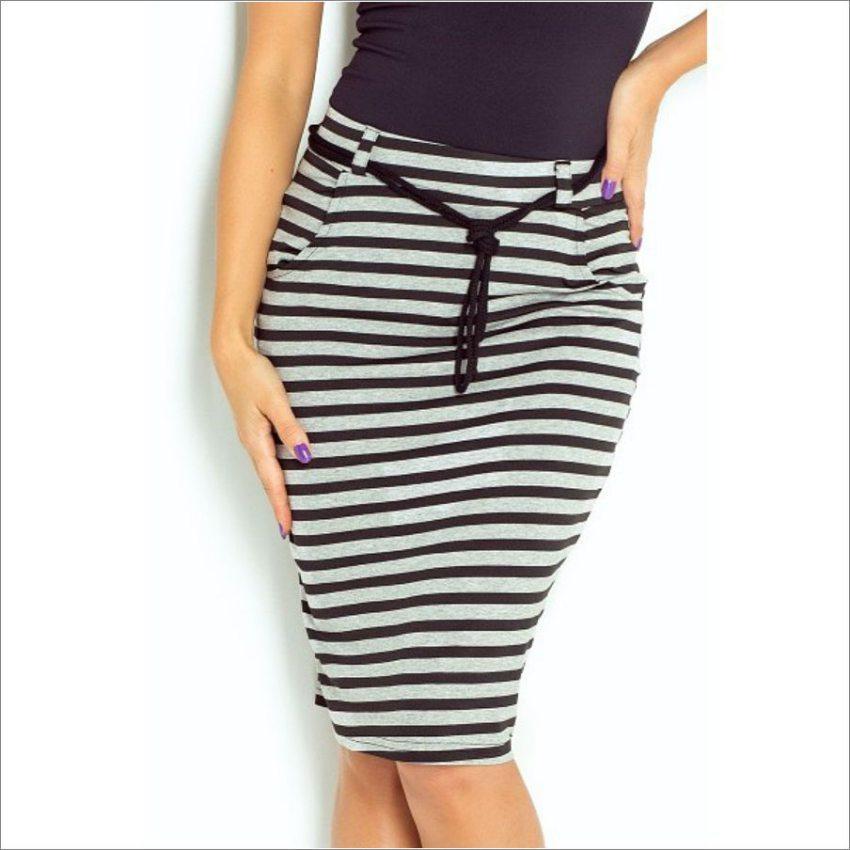 d6337075c2fe úzka sukňa s pásikavým vzorom čierno šedá