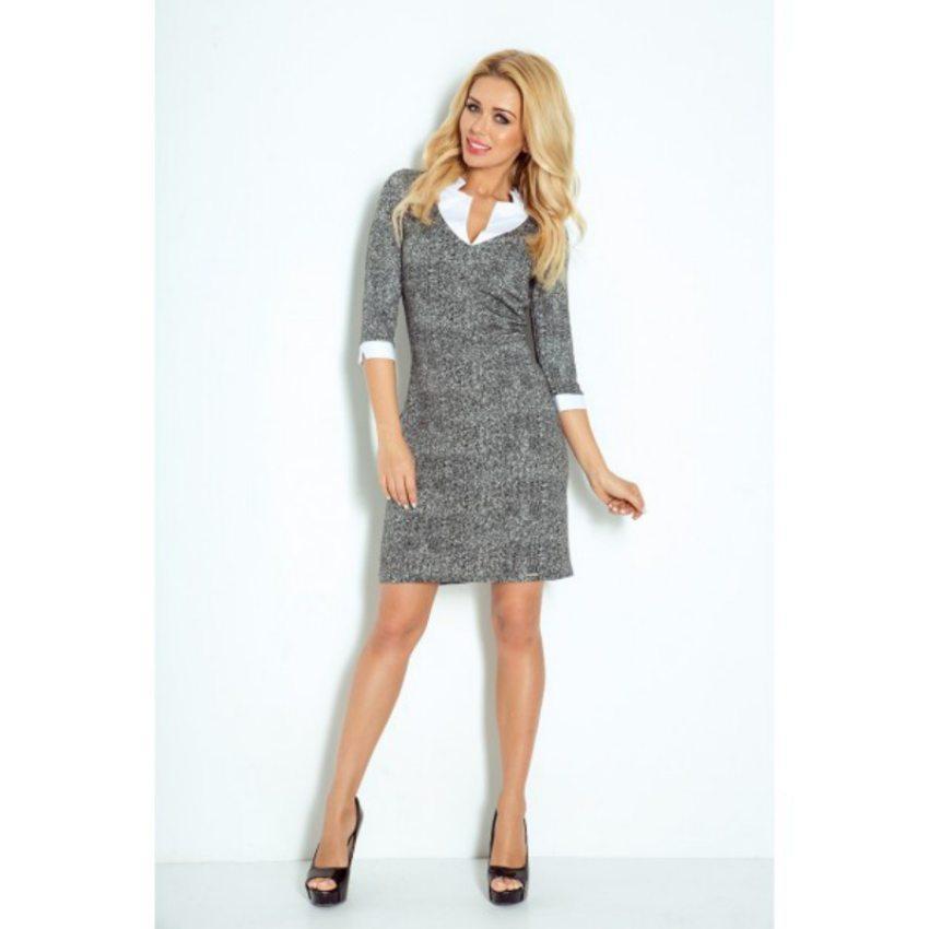 Elegantné biznis šaty s drobným vzorom 5cb6f0cd355