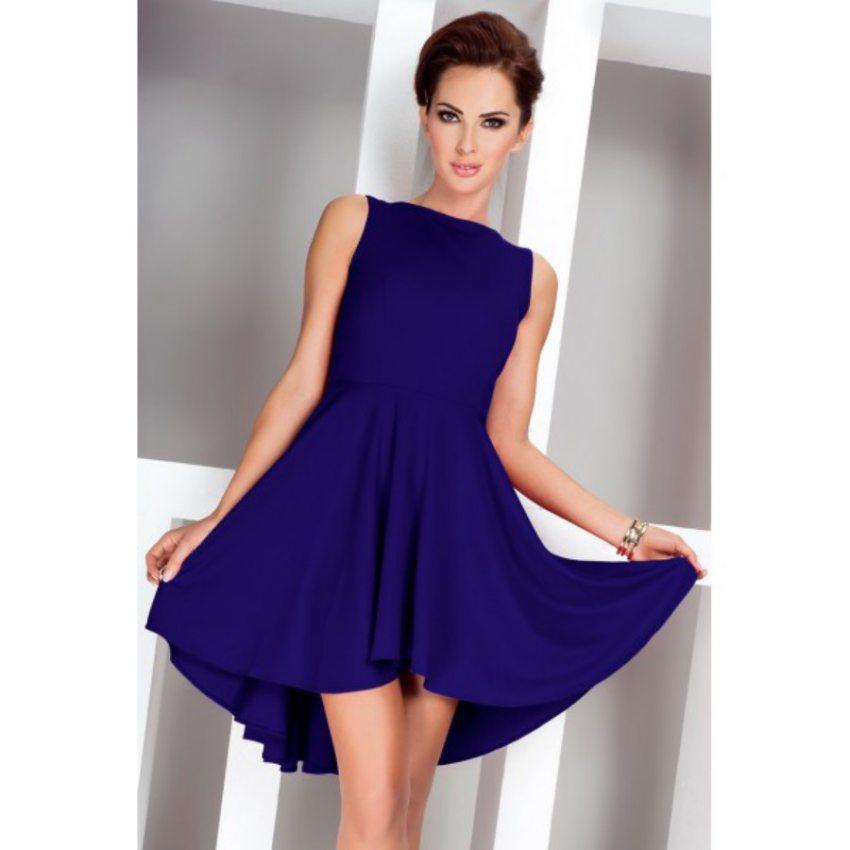dámske elegantné modré šaty bez rukávov dbfa1d237ae