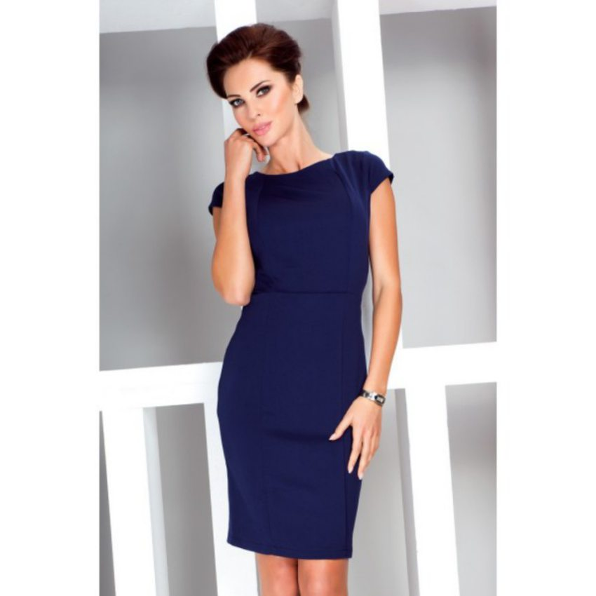 06061e498f0a Dámske elegantné úzke tubové šaty modré numoco