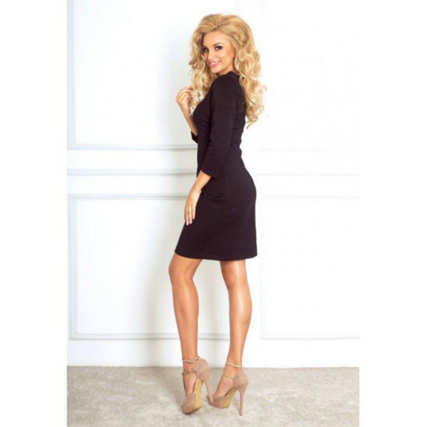 945e65af11 Elegantné čierne šaty s dlhým rukávom