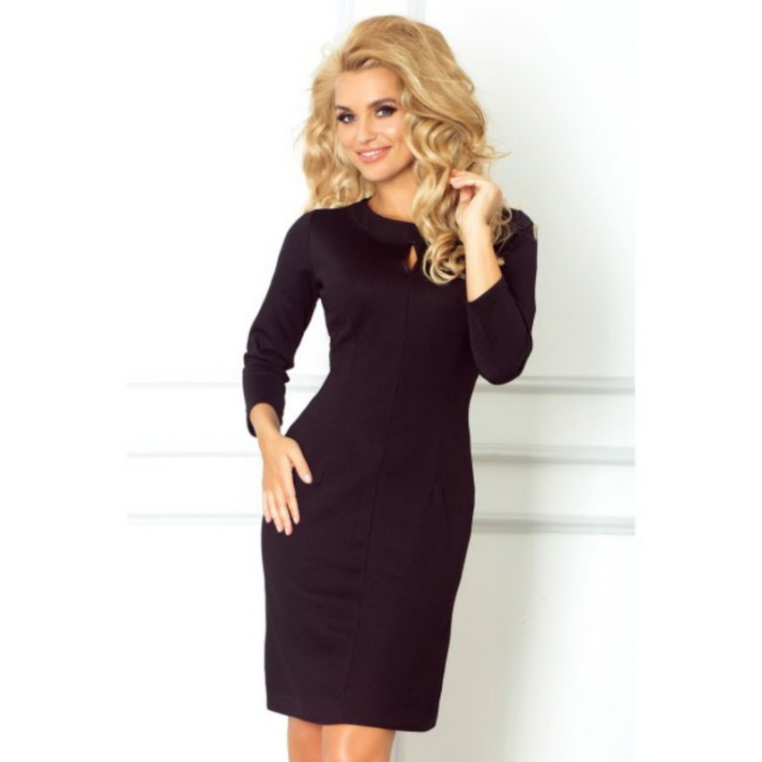 eb72d23811 dámske elegantné čierne mini šaty. úzke tubové šaty s dlhým rukávom