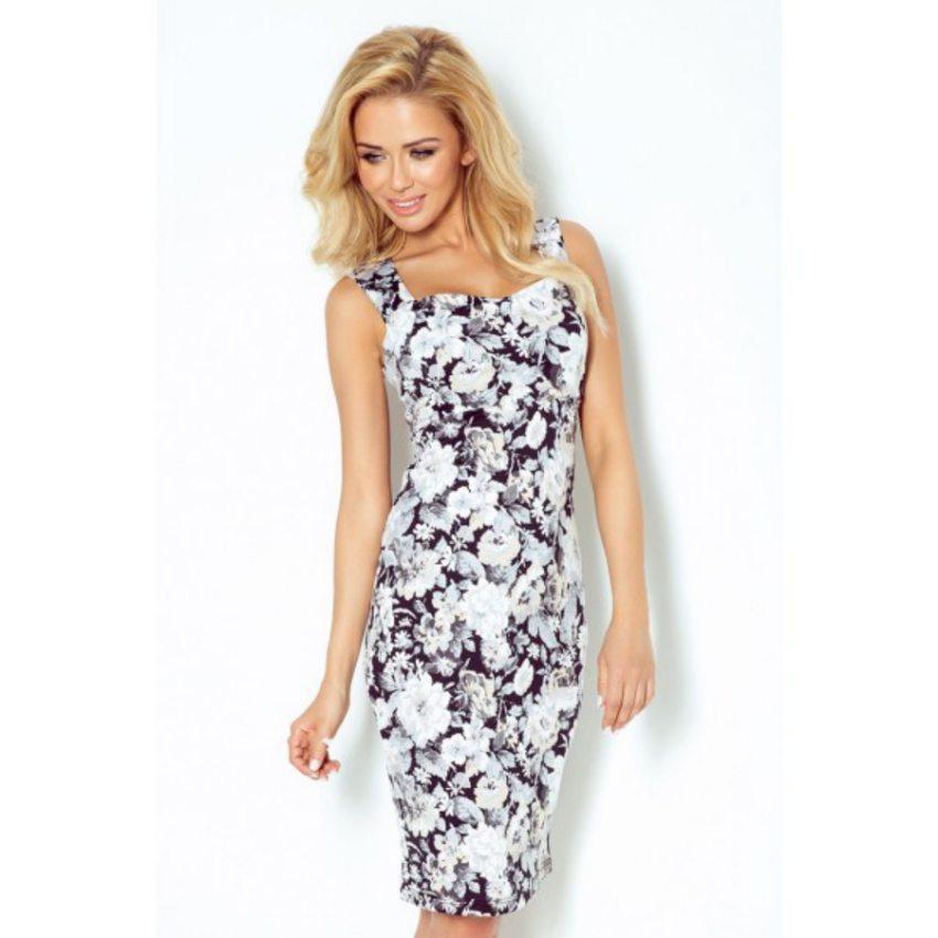 088e9740e elegantné šaty so vzorom kvety bledej farby numoco