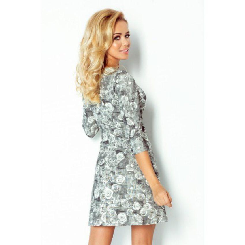 a73ff0d84403 Elegantné šaty s čierno-bielym kvetinkovým vzorom