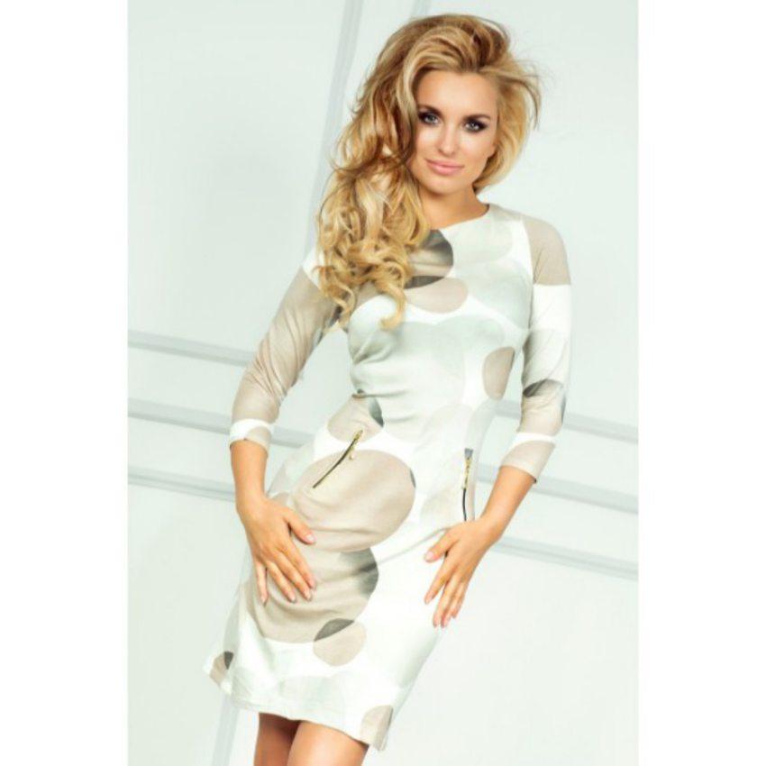 853552420 dámske elegantné béžové šaty so vzorom bubliny numoco