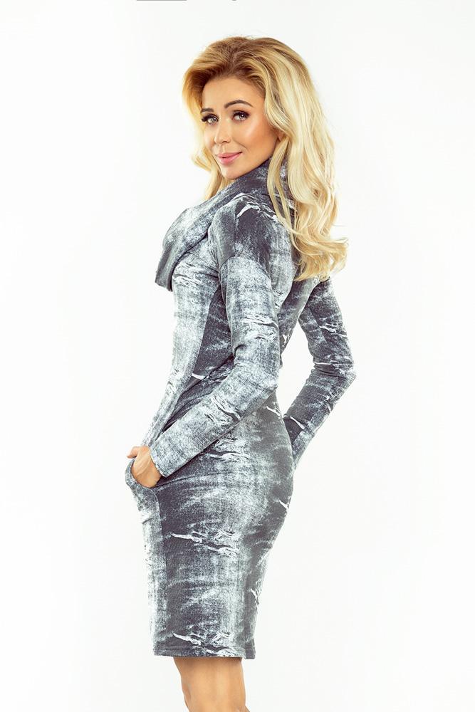 8d60d7f9582 Elegantné šaty s rolákom - 131-7 efekt vypranej jeansoviny