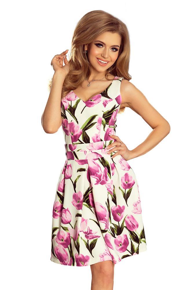 1b32ade64061 Romantické šaty so skladanou sukňou 160-4 tulipánové