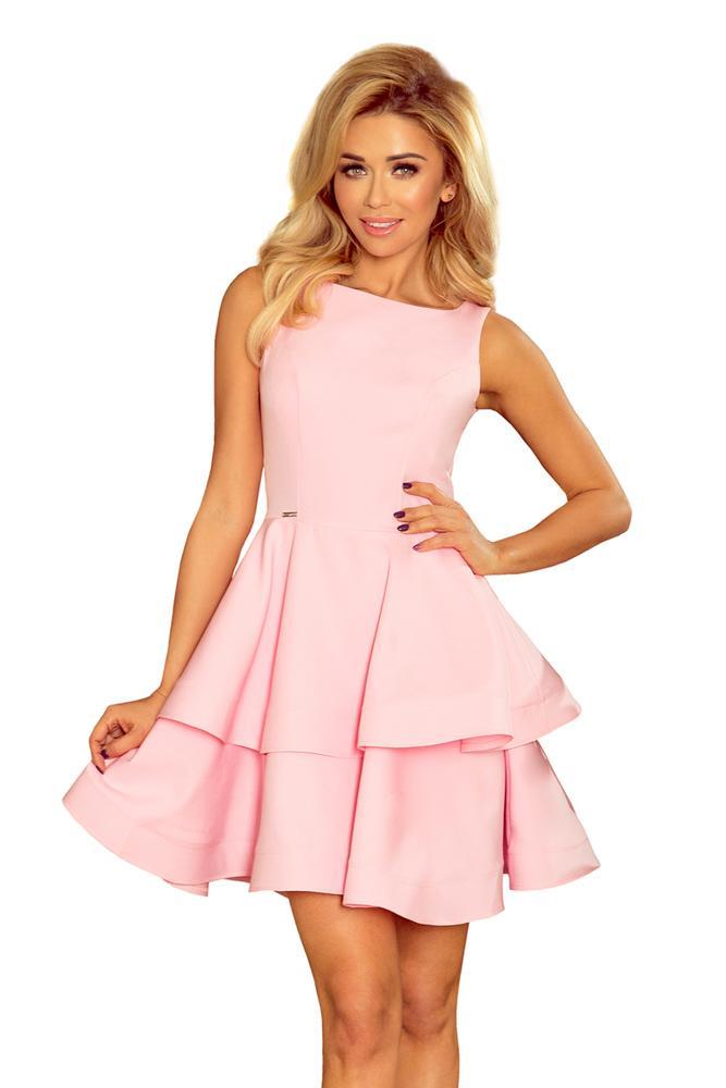 e1eb41bb4e8d Večerné šaty s volánovou sukňou 169-5 pastelovo ružové