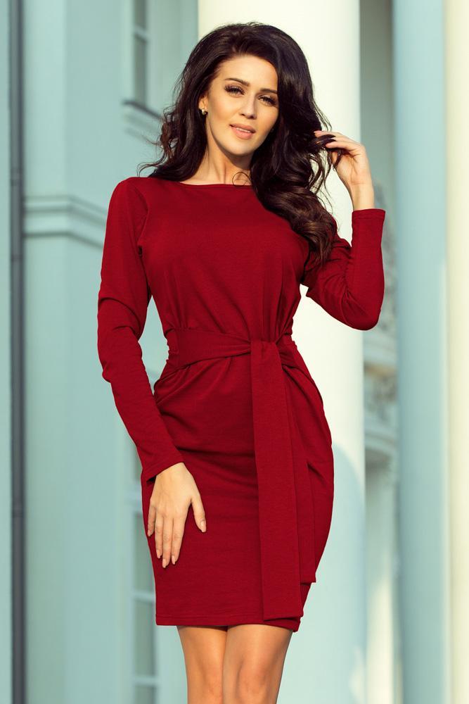 ... Obľúbené jesenné šaty so širokým opaskom 209-4 tmavomodré · teplé šaty 8535c7eb378