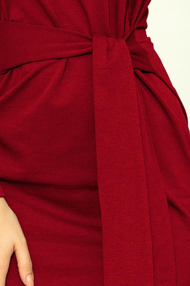 Obľúbené jesenné šaty so širokým opaskom 209-3 bordové fb53e7f1b71