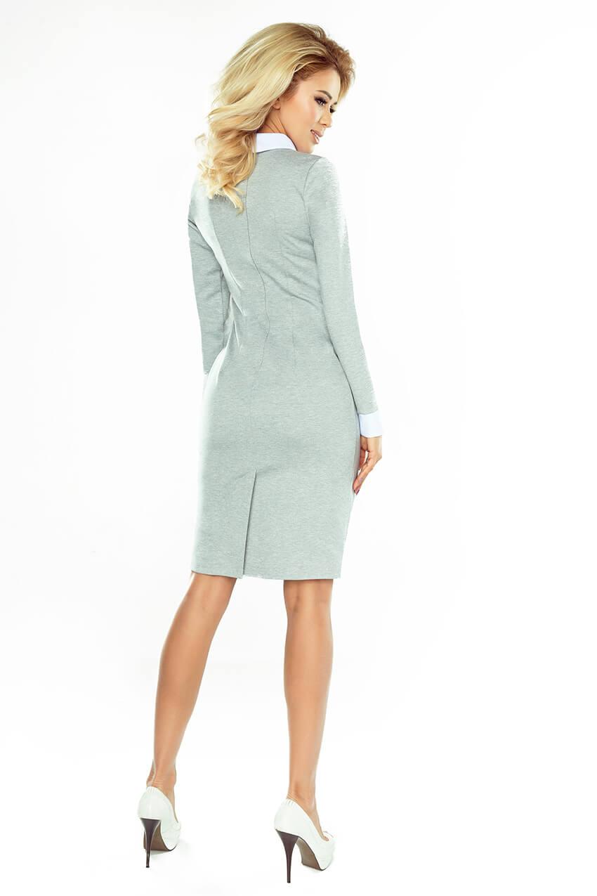636f05ab7ba1 Biznis šaty s bielym golierom - svetlo šedé 143-4