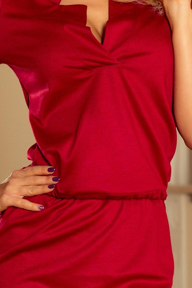 fb330e2c1 Romantické šaty: Športové šaty s vyhrnutými rukávmi 161-9 tmavá červená