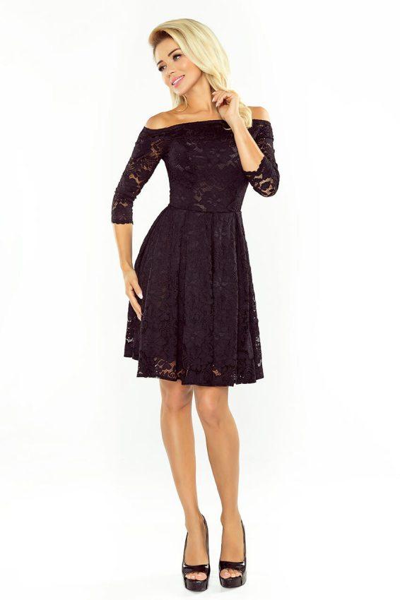 bc818e7da811 Malé čierne  Elegantné šaty z čipky s odhalenými ramenami 168-1 čierne