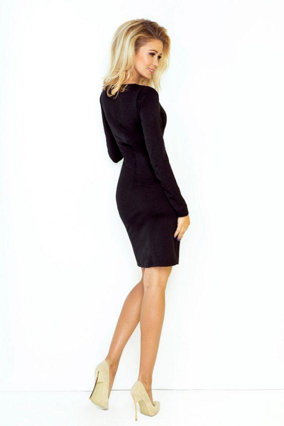 43c3fc09b26f Jednoduché šaty s oválnym dekoltom a dlhým rukávom- čierne
