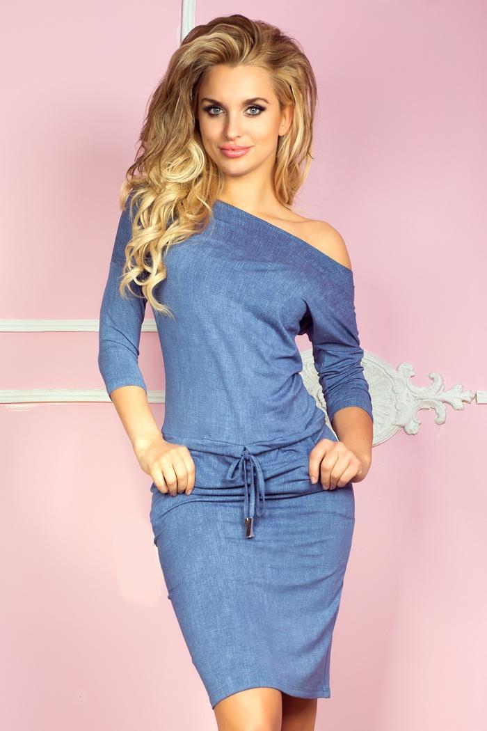 8fdaf367a dámske športovo elegantné, pohodlné riflové šaty, bledo modré NUMOCO