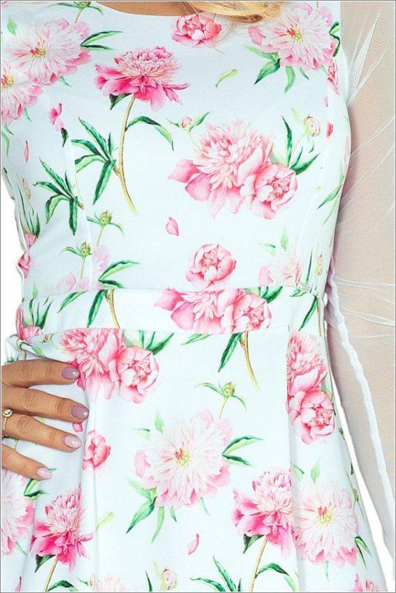 Romantické šaty  Šaty s tylovými rukávmi - ružové kvety c7d37a77864