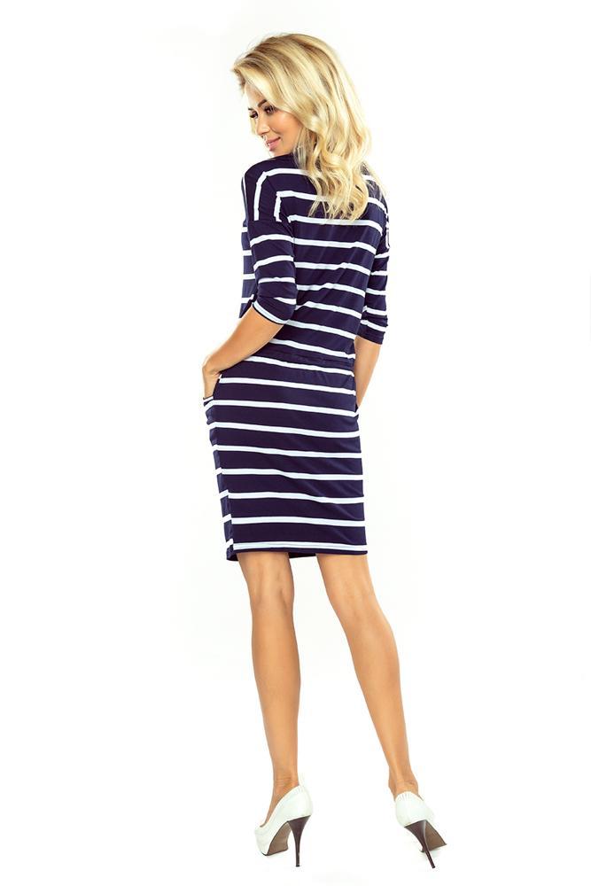 64c27357c6bd Športovo elegantné šaty s modrými pásikmi 44-16