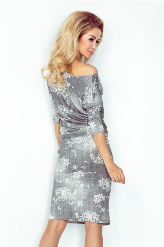 e184cb1197a0 Športovo elegantné šaty s jeansovou potlačou - biele kvety 13-57