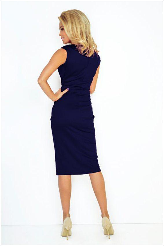 Elegantné biznis šaty s dlhou sukňou tmavo modré 144-4 ea8f6d16fbc