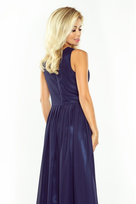 da309d3a0524 Dlhé večerné šaty šifónové- tmavo modré