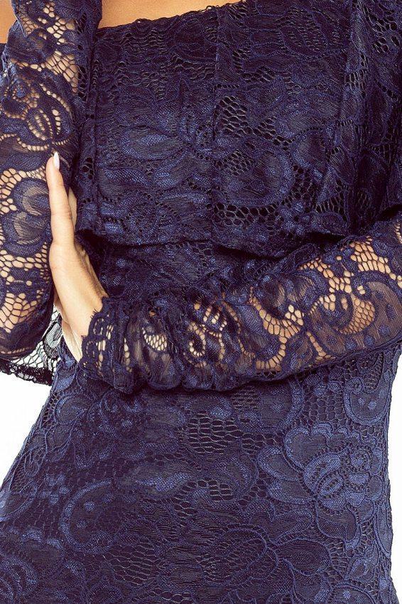 fe77b48bc1ff Večerné šaty  Večerné šaty s čipkou MM 021-2 tmavo modré