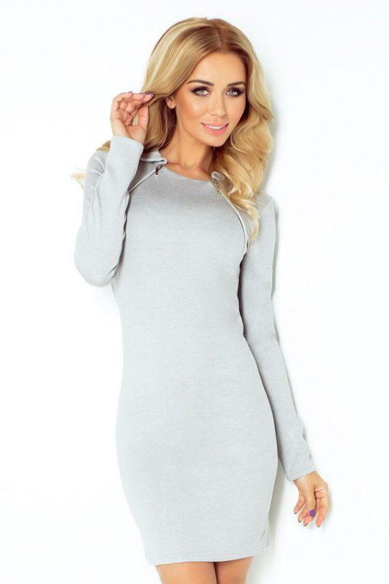 c489f3aa3d11 elegantné šedé šaty na na jeseň-zimu