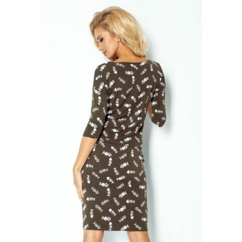 Pohodlné šaty so vzorom FISHBONE - khaki b5bc367d0af