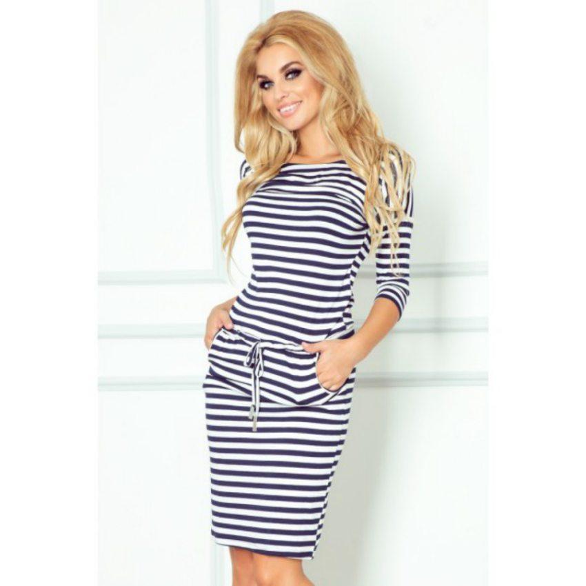 3751d2a13c5d Športovo elegantné šaty s pásikavým vzorom - modrý pásik