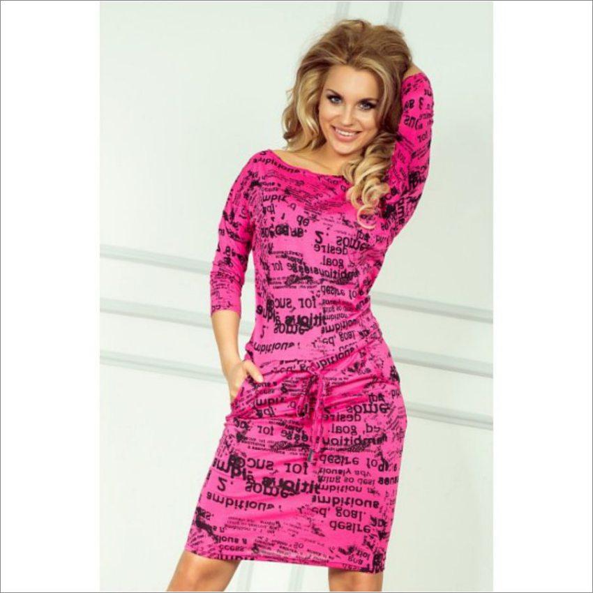 d77bb8da2423 dámske športovo elegantné ružové šaty s potlačou numoco