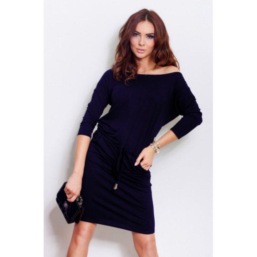 a1e43d604d3c Športovo elegantné tmavo modré šaty
