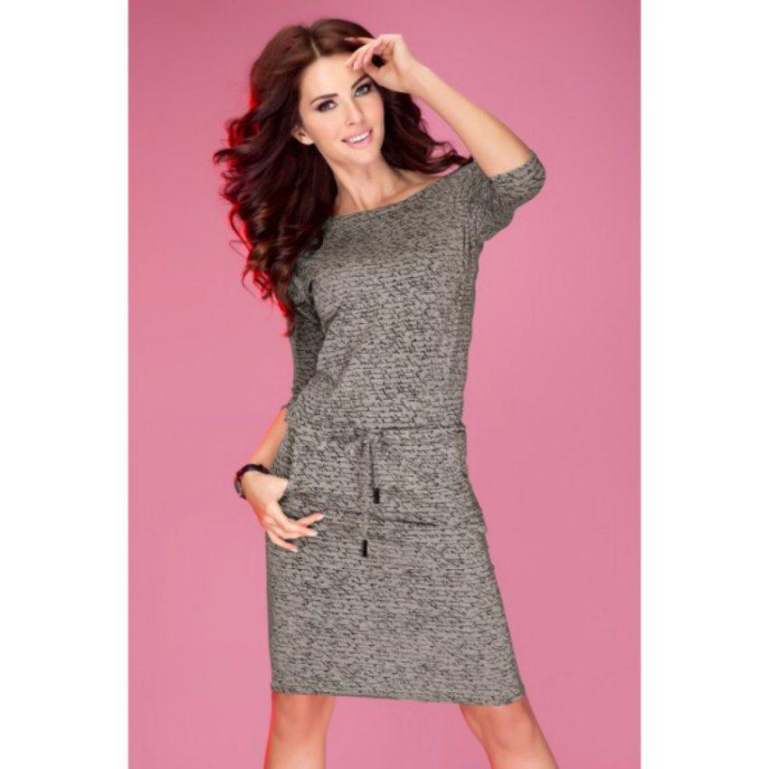 25bfd4b3c82d pohodlné šaty na bežné nosenie s potlačou tmavo šedé numoco