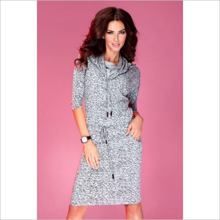 5e284ca90e99 dámske pohodlné šaty s voľným golierom šedé s potlačou numoco