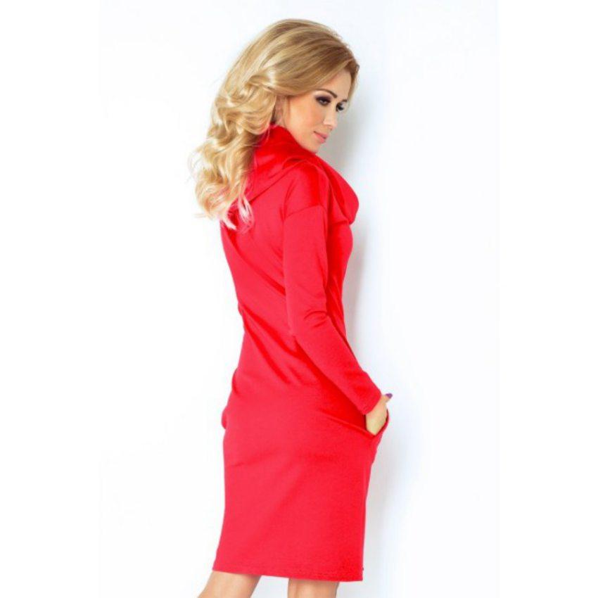 bf2b6e3dd002 Elegantné dámske šaty s rolákom- červené